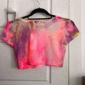 Emma & Sam Tops - Emma & Sam cropped tie-dye mesh shirt
